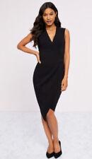 New Lipsy @ Next Size 12 Black Wrap V Neck Bodycon Dress Asymmetric Hem