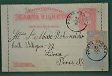 BRAZIL STAMP COVER 1891 TO PERU  (P53)