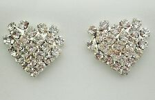 Heart shaped clear crystal silver tostud earring 15 x 15mm butterfly backs