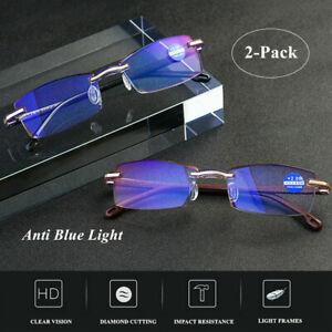 2Pcs Anti Blue Light Reading Glasses for Women Men Diamond-cut Rimless Eyewear