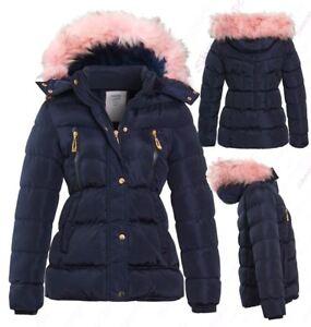 Girls Fleece Lined Padded Parka Coat Faux Fur Jacket Age 3 4 7 8 9 10 11 12 13