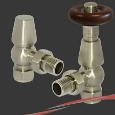Brushed Nickel Traditional Round Top Angled Thermostatic Radiator Valves (Pair)