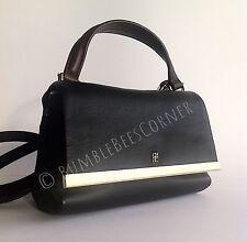 CAROLINA HERRERA Calfskin Leather CH Logo Petite Black Shoulder Bag HandBag NWT