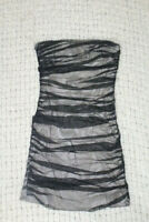 A/X ARMANI EXCHANGE 4 Black/Beige Illusion Ruched Mesh Overlay Strapless Dress