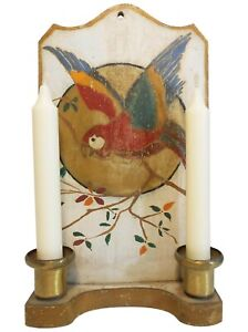 EARLY 20TH C AMERICAN 2 CANDLE HANGING WOODEN WALL SCONCE, W/HAND PAINTED PARROT