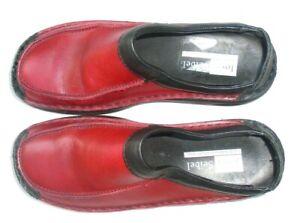 Josef Siebel women's red leather flat mule  shoes size 10