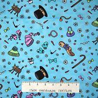 Christmas Fabric - Snow Much Fun Mitten & Hat Toss Aqua - Northcott OOP YARD