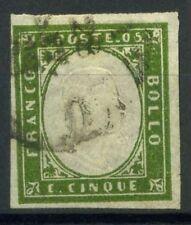 Sardegna 1855 Sass. 13Dd Usato 100% firmato Cardillo. 5 c.