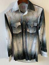 H Bar C RANCHWEAR Mens L 14.5-33 Long Tail Pearl Snap Western Shirt VTG
