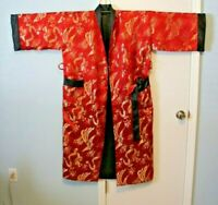 Vintage Japanese Black and Red w/Gold Dragon Brocade Reversible Kimono Robe Tie