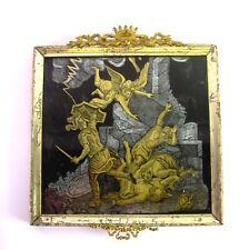 antikes HINTERGLASBILD - EGLOMISE - Gold- und Silber RITZBILD  um 1800