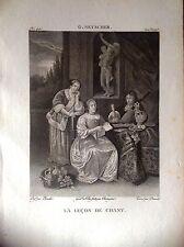 LEZIONE DI CANTO incisione originale XIX secolo musica da G. NETSCHER