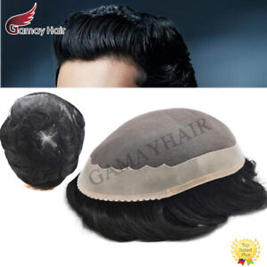 Mens Toupee Fine Mono Hairpieces Human Hair Replacements Poly PU Hair System Wig