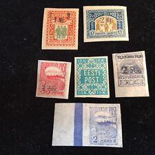 1918-1920 Estonia Postage Stamps Lot of 6 Unused