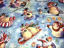 """LOOKING UP SNOWMEN"" GLITTER CHRISTMAS COTTON FABRIC QUILTING SEWING BTHY"