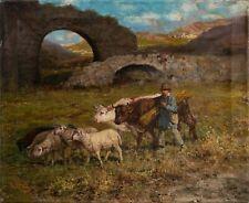 Giuseppe Giardello - Bauer mit Kühen und Lämmer - Öl auf Leinwand - o. J.