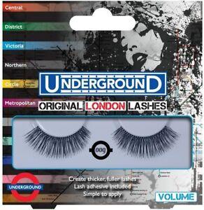 UNDERGROUND ORIGINAL LONDON FALSE EYELASHES VOLUME 009 + ADHESIVE FREE DELIVERY