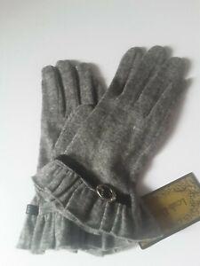 Size S-M Grey 80% Wool 20% Elastane Fine Knit Ladies Gloves