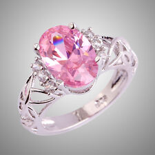 Fashion Women AAA Pink & White Topaz Gemstone Silver Ring Oval Cut Love Style