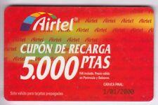 Europe telecarte/phonecard... spain 5.000p airtel first no. 1 + no. 01/2000