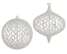 Raz Imports Christmas Ornaments Set of 2 White Glittered Ice Garden Collection