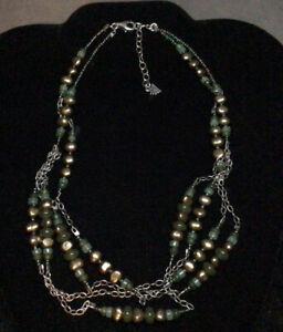 "Silpada N1683 925 Sterling Silver Pearl~Jade~Adventurine Chain Necklace 17-19"""