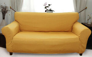 Elastic Slip Sofa Cover 1 2 3 seater PLAIN (gold)