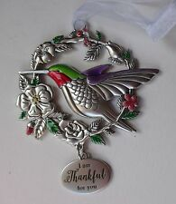 s I am thankful for you BLESSED BEYOND MEASURE Bird Ornament hummingbird ganz