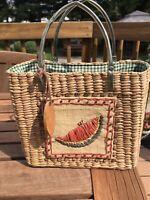 Vintage August Straw Bag Handbag Purse Watermelon Slice