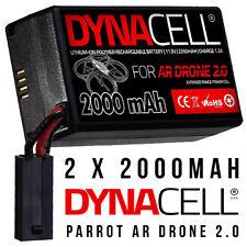 2 X dynacell 2000mah Repuesto actualización Batería De Repuesto Para Parrot Ar Drone 2.0