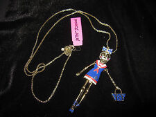 BETSEY JOHNSON IVY LEAGUE SKULL SAILOR GIRL LONG NECKLACE