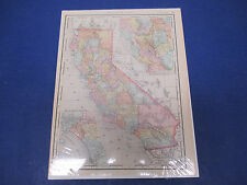 Rand McNally Atlas Map Page California 1902 Nice Color, Suitable To Frame