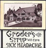 Chicago Worlds Fair 1893 Dakota Building Photo-Litho Headache Cure Ad Trade Card