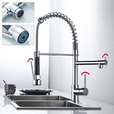 Chrome Kitchen Swivel Spout Single Handle Sink Faucet Pull Down Spray Mixer Tap