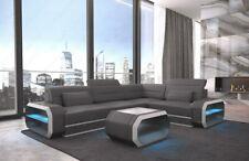 Design Leder Sofa Couch VERONA L Form Ottomane LED Beleuchtung grau-weiss