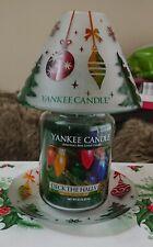 YANKEE CANDLE DECK THE HALLS CHRISTMAS LARGE JAR, SHADE & TRAY GIFT SET RARE