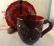 CAPE COD RUBY RED CUP & SAUCER SET AVON 1876 Collection Mint in Box MIB