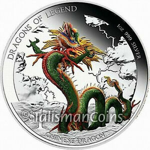 Tuvalu 2012 Dragons of Legend Chinese $1 1 Troy Oz Pure Silver Proof in FULL OGP