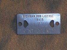 Vintage Dog License Tax Tag Kent County Michigan MI 1965   #1720    da7