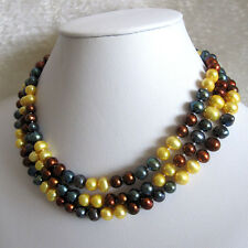 "49"" 7-8mm Multi Color Freshwater Pearl Strand Necklace Jewelry UK"
