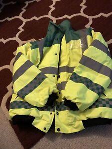 Large 16-18 Warm Waterproof High Viz Padded Blouson Style Riding Jacket