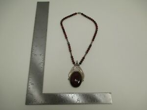 Vintage Sterling Silver Tuareg Berber Homemade African Necklace Carnelian S3782