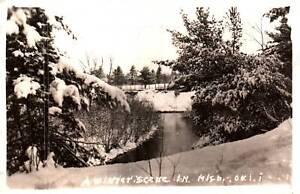 RPPC C. 1944 Muskegon Michigan Winter Scene Real Photo Postcard