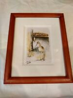 Antique Bird Print Etching Signed Artist 9/100 Framed Art