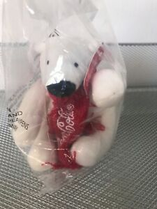 New Coca-Cola Mini Bear Plush Stuffed animal White Polar Bear winter Scarf red