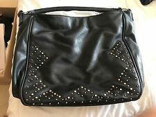 Women's Faux Leather Studded Handbag Large One Pouch With Small Inside Zip Pocke