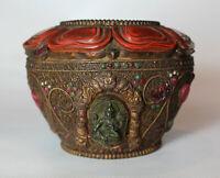 RITUALGEFÄSS/ OPFERSCHALE aus Kupfer, mit Steinen besetzt Tibet Nepal Buddhismus