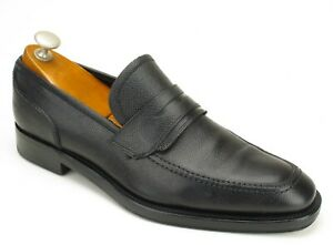 Salvatore Ferragamo Lav. Originale Black Scotchgrain Leather Penny Loafers 7 EE