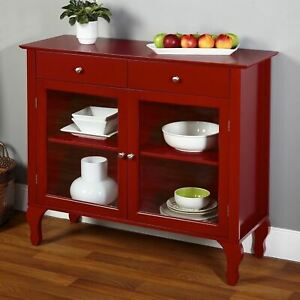 Red Wooden Buffet Server Console Storage Cabinet Curio Display Dining Glass Door