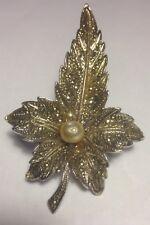 Silver Leaf Brooch Vintage Paste Pearl Gilt